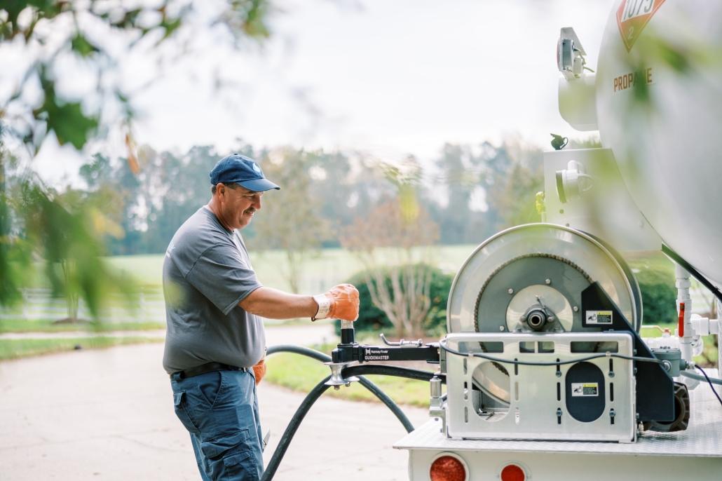 Euliss technician at propane truck