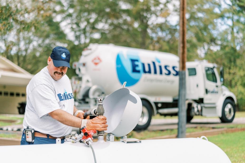 Euliss technician servicing propane tank