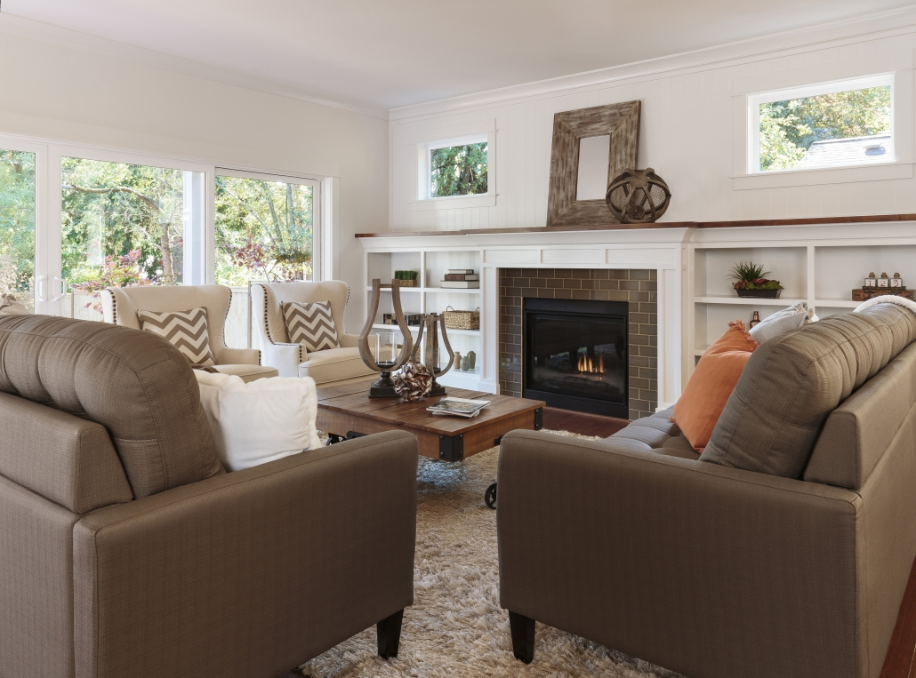 living room with log set
