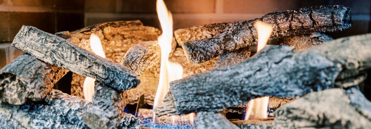 Closeup of a burning logset